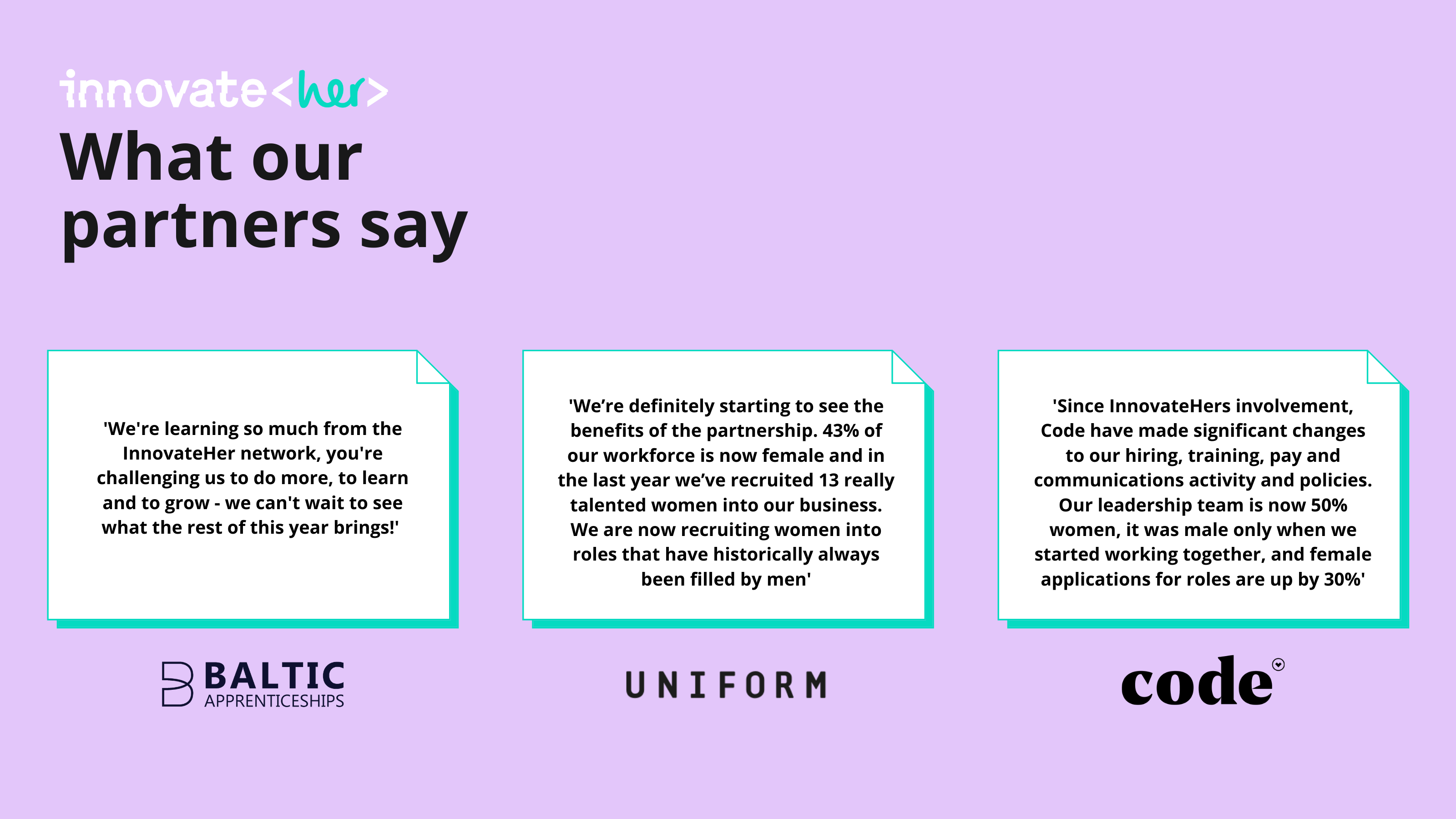 Positive quotes from InnovateHer partners