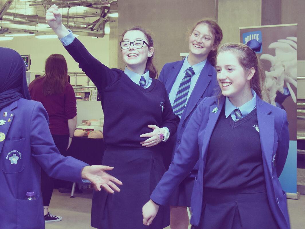 Girls at AlderHey hospital having fun
